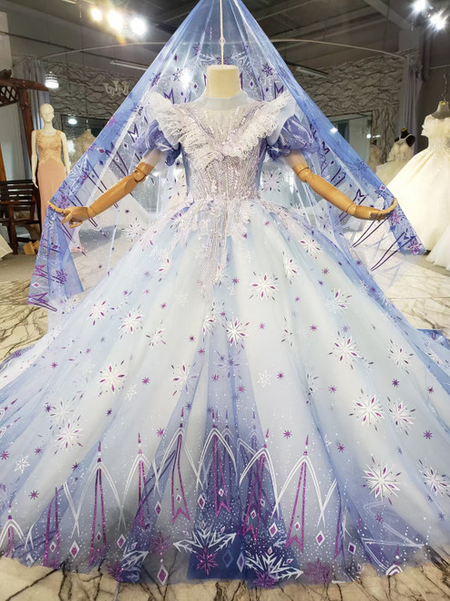 Blue Tulle Sequins Appliques Puff Sleeve Flower Girl Dress