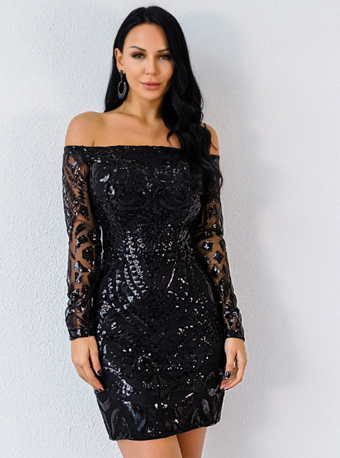 In Stock:Ship in 48 Hours Black Sequins Mini Party Dress