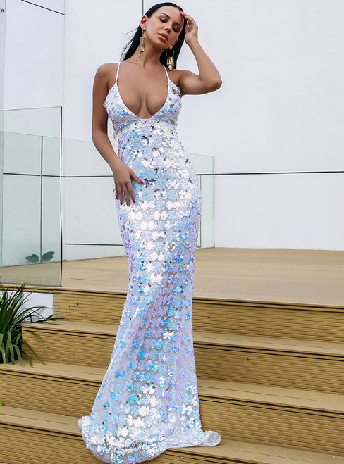In Stock:Ship in 48 Hours Mermaid Sequins Deep V-neck Party Dress