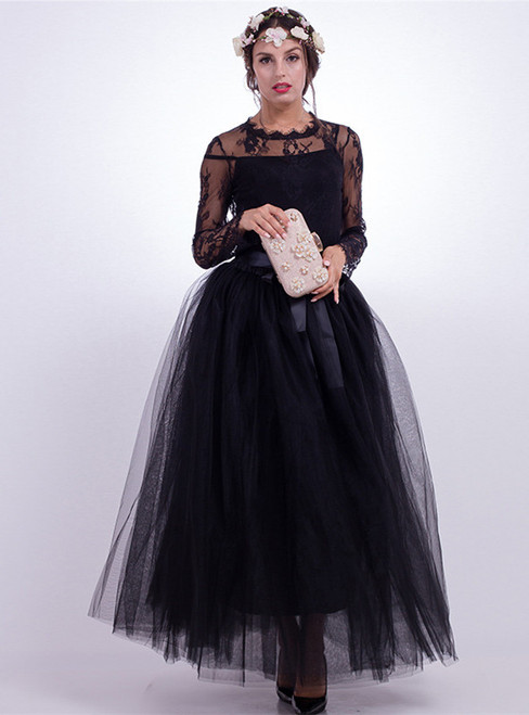 Black Gauze Mop Floor Long Skirt