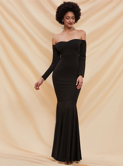 In Stock:Ship in 48 Hours Black Off the Shoulder Party Dress