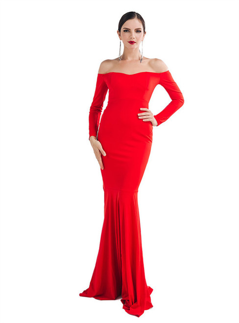 In Stock:Ship in 48 Hours Red Off the Shoulder Party Dress