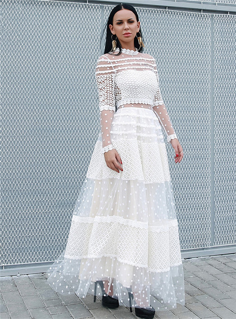 In Stock:Ship in 48 Hours White Lace Wave Point Party Dress