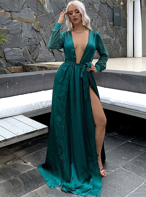 In Stock:Ship in 48 Hours Green Chiffon V-neck Long Sleeve Party Dress