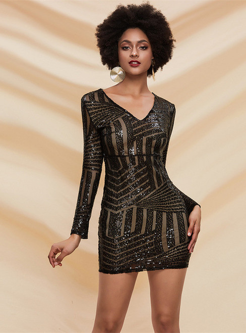 In Stock:Ship in 48 Hours Black Sequins V-neck Mini Party Dress
