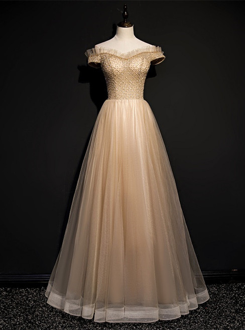 Coffee Tulle Off the Shoulder Beading Prom Dress