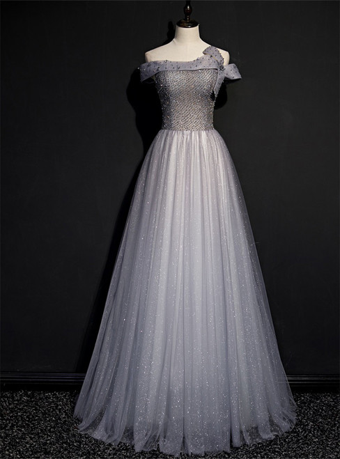 Fashion Gray Tulle Sequins Off the Shoulder Beading Prom Dress