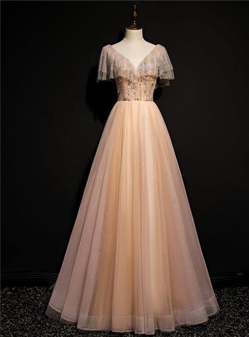 Champagne Tulle Beading V-neck Prom Dress