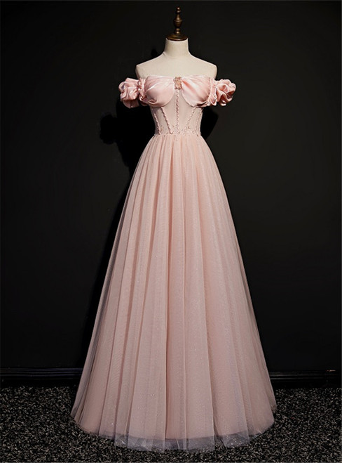 Pink Tulle Off the Shoulder Beading Prom Dress