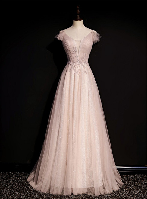 Pink Tulle V-neck Pleats Beading Backless Prom Dress