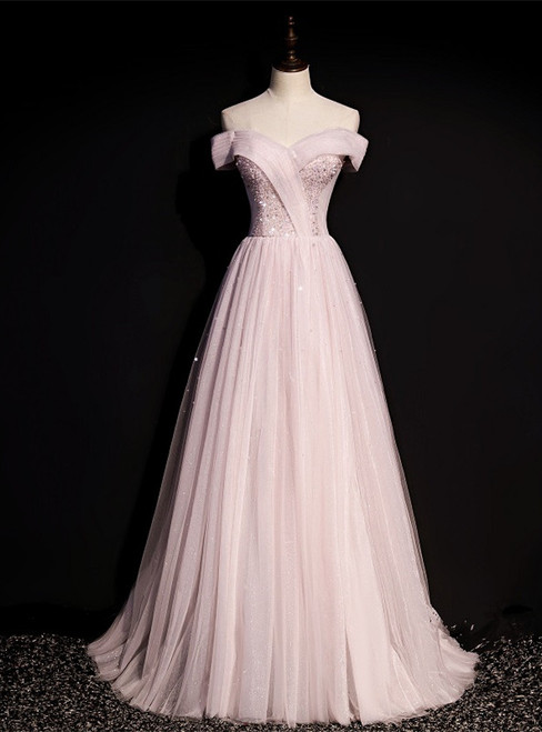 Pink Tulle Off the Shoulder Beading Pleats Prom Dress