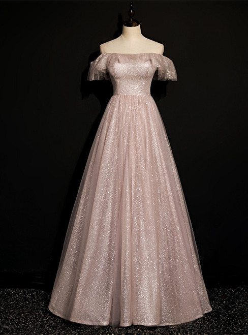 Pink Tulle Sequins Off the Shoulder Long Prom Dress