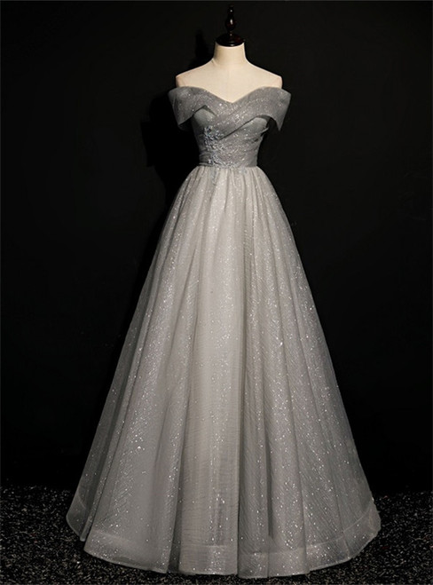Gray Tulle Off the Shoulder Beading Formal Prom Dress