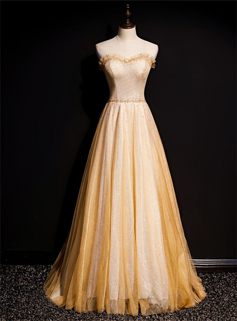 Gold Tulle Sequins Strapless Beading Prom Dress
