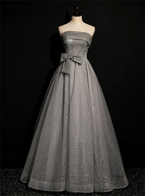 Gray Tulle Sequins Strapless Pleats Beading Prom Dress