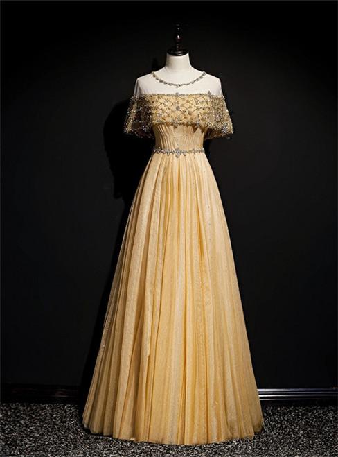 Gold Tulle Beading Sequins Lotus Leaf Sleeve Prom Dress