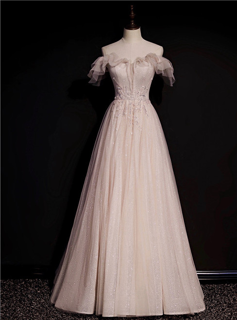 Pink Tulle Sequins Off the Shoulder Beading Prom Dress