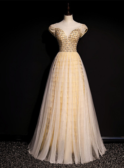 Gold Tulle Puff Sleeve Beading Sequins Backless Prom Dress