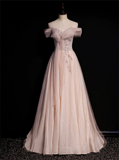 Pink Tulle Sequins Off the Shoulder Beading Pleats Prom Dress