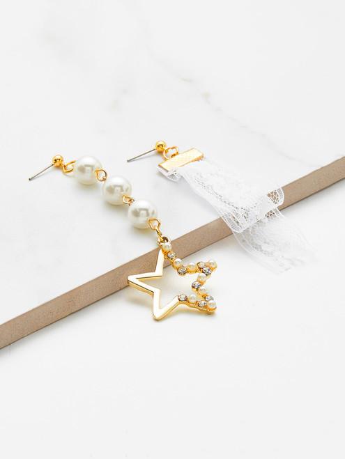 Open Star & Lace Drop Mismatched Earrings