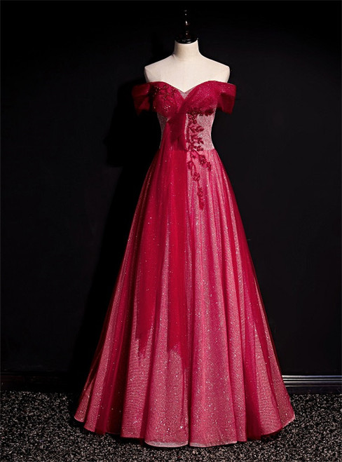 Burgundy Tulle Sequins Off the Shoulder Beading Pleats Prom Dress