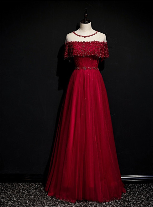 Burgundy Tulle Beading Sequins Lotus Leaf Sleeve Prom Dress