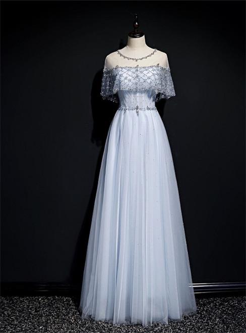 Light Blue Tulle Beading Sequins Lotus Leaf Sleeve Prom Dress
