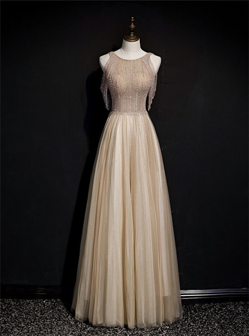 Champagne Tulle Hand Work Beading Long Prom Dress