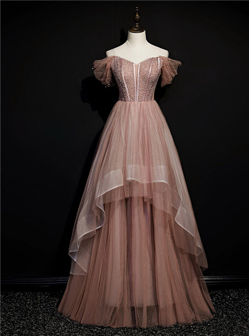Bean Paste Color Tulle Off the Shoulder Beading Prom Dress