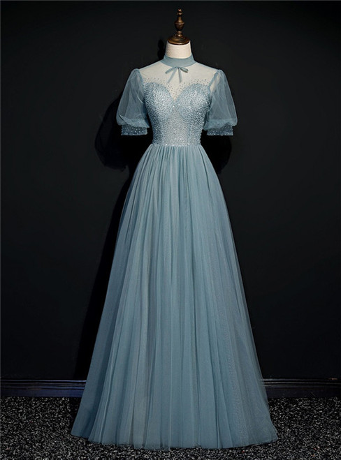 Gray Blue Tulle Short Sleeve High Neck Beading prom Dress