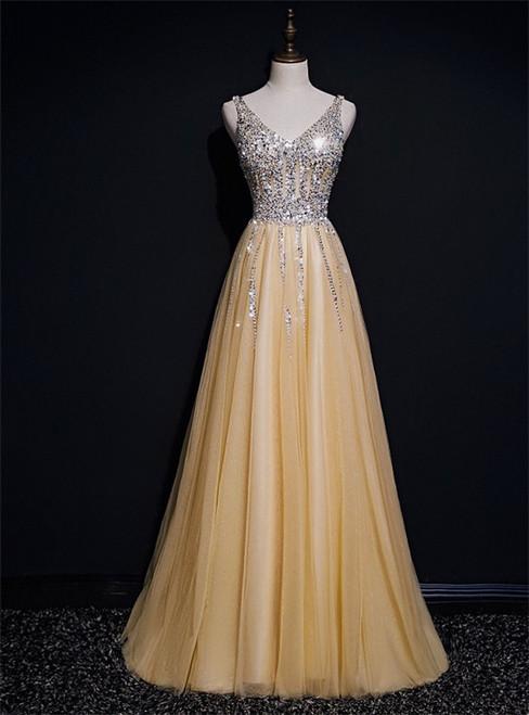 Gold Tulle V-neck Beading Sequins Prom Dress