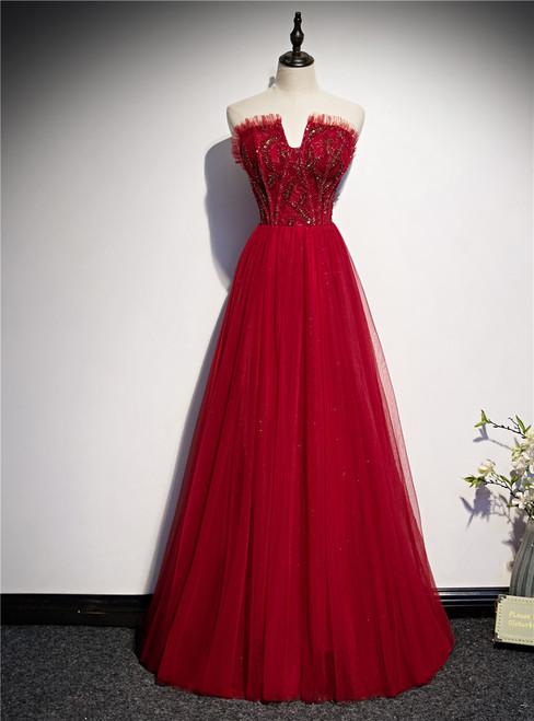 Burgundy Tulle Strapless Beading Prom Dress