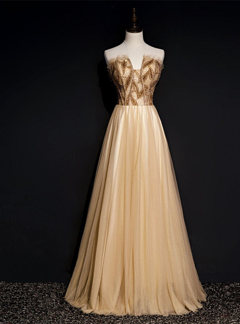 Sexy Gold Tulle Strapless Beading Prom Dress