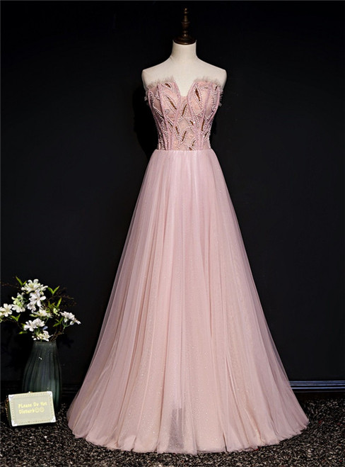 Pink Tulle Strapless Beading Formal Prom Dress