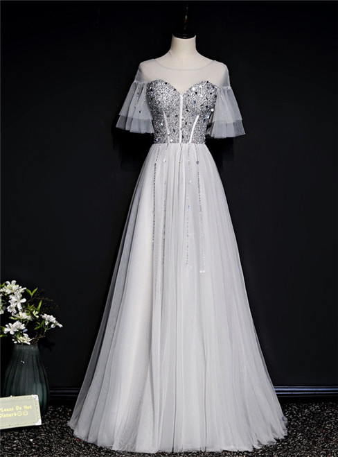 Silver Gray Tulle Short Sleeve Beading Sequins Prom Dress