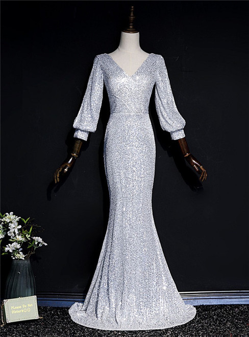 Silver Mermaid Sequins V-neck Long Sleeve Prom Dress