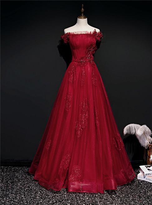 Burgundy Tulle Sequins Off the Shoulder Pleats Prom Dress