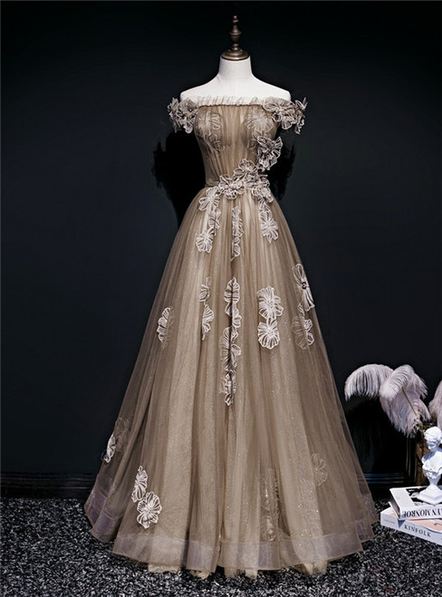 Brown Tulle Off the Shoulder Long Prom Dress