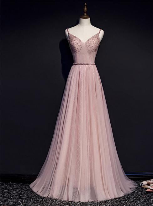 Pink Tulle Spaghetti Straps Beading Pleats Prom Dress
