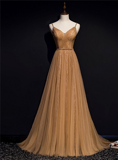 Coffee Gold Tulle Spaghetti Straps Beading Pleats Prom Dress