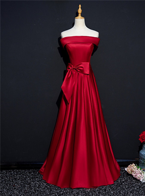 Burgundy Satin Off the Shoulder Bow Prom Dress