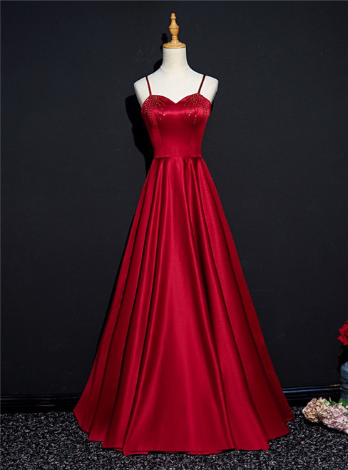 Burgundy Satin Spaghetti Straps Beading Prom Dress