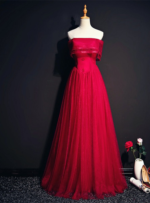 A-Line Burgundy Tulle Strapless Beading Prom Dress