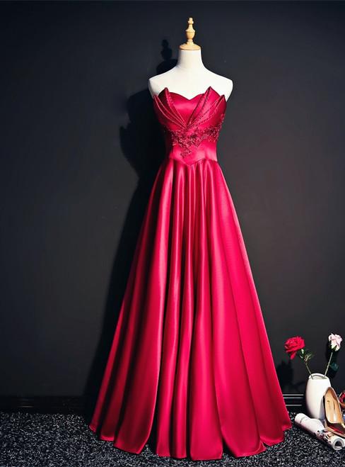 Burgundy Satin Strapless Beading Prom Dress