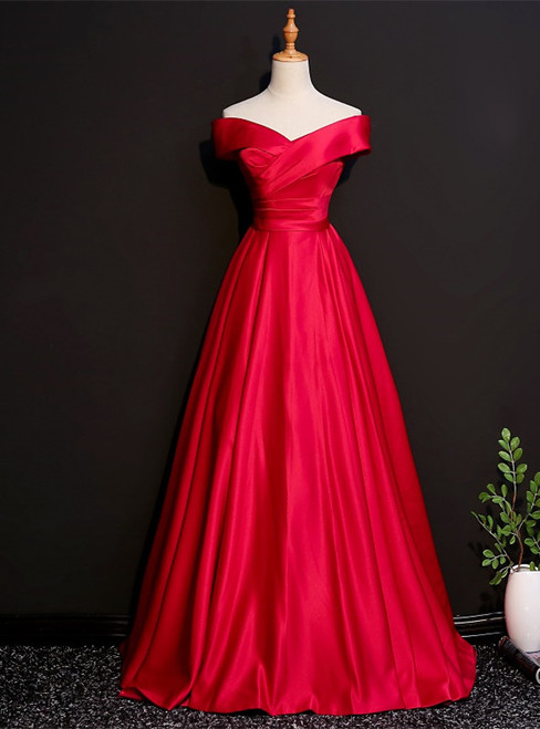 Burgundy Satin Off the Shoulder Pleats Prom Dress