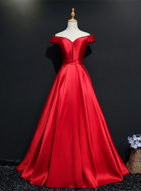 Red Satin Off the Shoulder Beading Prom Dress