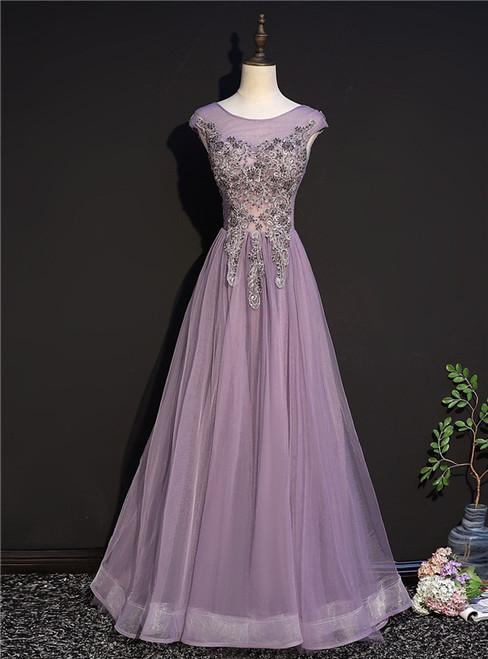 Purple Tulle Cap Sleeve Appliques Beading Prom Dress