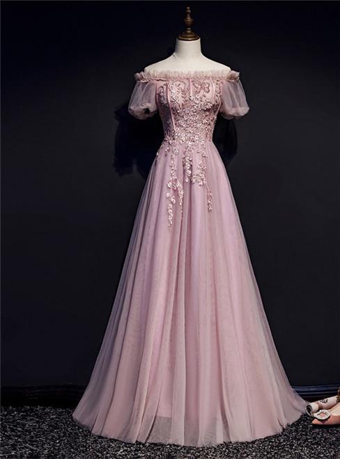 Pink Tulle Off the Shoulder Short Sleeve Prom Dress