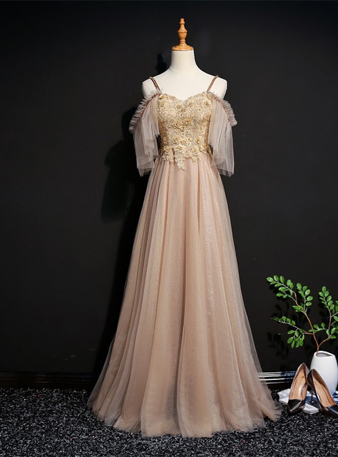 Gold Tulle Spaghetti Straps Appliques Beading Prom Dress