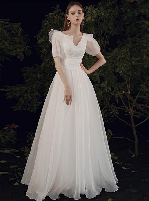 White Tulle V-neck Short Sleeve Wedding Dress